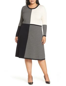 Placed Stripe Midi Sweater Dress by Eliza J