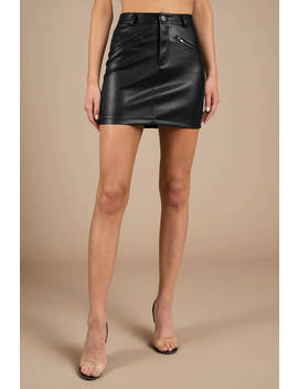 Danny Black Faux Leather Mini Skirt by Tobi