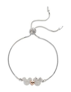 Mickey & Minnie Mouse Two Tone Crystal Bracelet by Disney