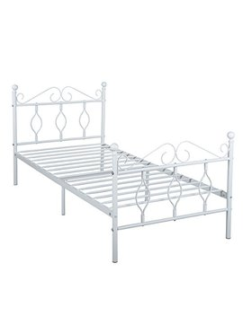 Green Forest Twin Bed Frame Metal Platform Complete Bed With Vintage Headboard And Footboard Box Spring Replacement Steel Slats Bed, White Twin by Green Forest