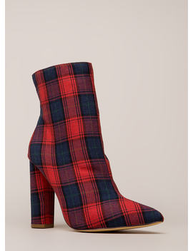 Easy Win Chunky Plaid Print Booties by Go Jane