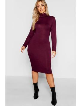 Plus Long Sleeve Roll Neck Midi Dress by Boohoo
