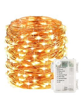 Lights Etc 100 Led Fairy String Lights Battery Operated 33ft Copper Wire Warm White Christmas Lights Copper Wire Christmas Lights Christmas Decor Warm White by Lights Etc