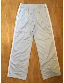 Bebe Sport Bbsp Powder Blue Pants With Pockets White Stripes Zipper Legs Sz M by Bebe
