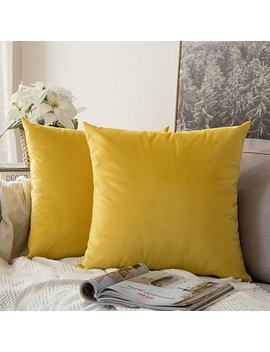 Miulee Pack Of 2 Velvet Soft Soild Decorative Square Throw Pillow Covers Set Cushion Case For Sofa Bedroom Car 16 X 16 Inch 40 X 40 Cm Lemon Yellow by Miulee