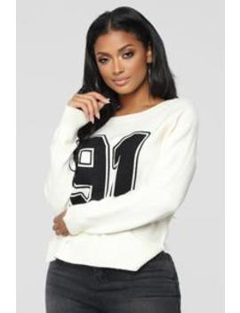 On The Sideline Sweater   Ivory by Fashion Nova