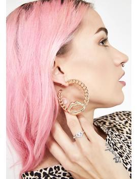 Lip Lock Chain Earrings by Ciel
