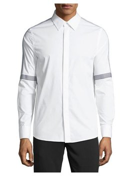 Men's Tape Striped Poplin Sport Shirt by Karl Lagerfeld Paris