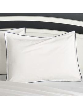 Haven Standard Blue Percale Pillow Sham by Crate&Barrel