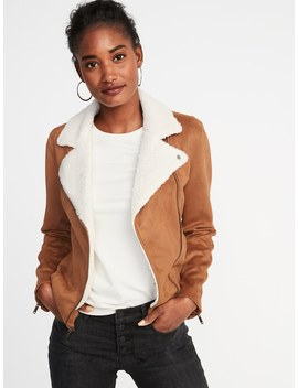 Faux Suede Sherpa Collar Moto Jacket For Women by Old Navy