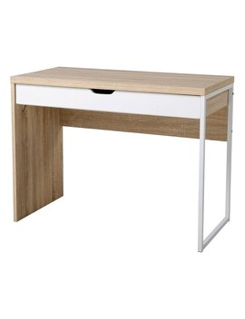 Hom Com Modern Wood Steel Computer Workstation Desk With Drawer by Generic