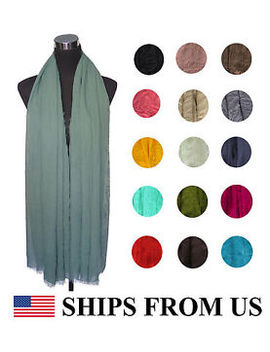 * Ships From Us * Frayed Plain Solid Color Maxi Scarf Wrap Shawl Super Large by Lina & Lily