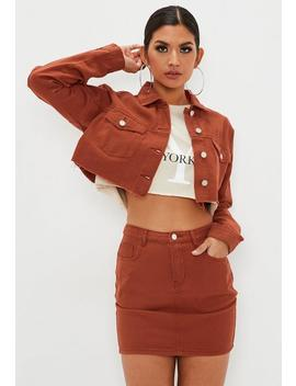 Rust Denim Regular Fit Raw Hem Jacket by Missguided