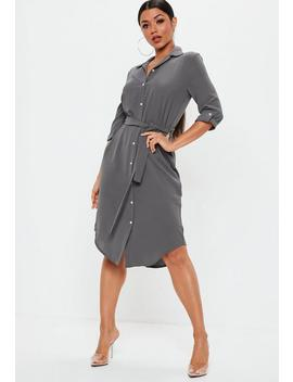 Grey Tie Belt Midi Shirt Dress by Missguided