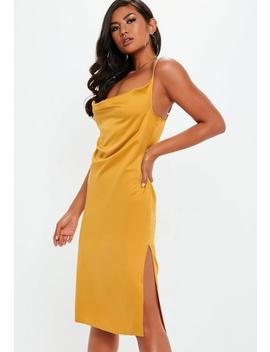 Yellow Strappy Cowl Midi Dress by Missguided