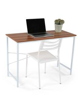 Lucky Theory Industrial Style Office Desk, White & Maple by Generic