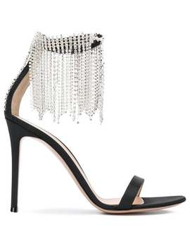 Crystal Fringe Trim Ankle Strap Sandals by Gianvito Rossi