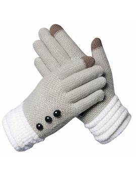 2 Pairs Womens Winter Warm Thick Cable Knit Gloves, Phone Touch Screen Texting Gloves Mittens With Wool Lined by Y Sense