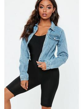 Blue Cropped Studded Zip Through Denim Jacket by Missguided