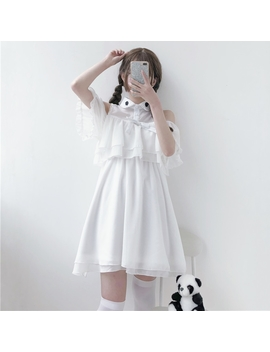 Summer Japanese Dark Kawaii Female Lace Bow Dress Soft Sister Lovely Bat Lolita Ruffle Off Shoulder Chiffon White Dress by Himifashion