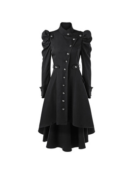Gamiss Autumn Winter Coat Women Puff Shoulder New Button Up Dip Hem Long Trench Coat Fashions Stand Up Collar Outerwear Coats by Gamiss