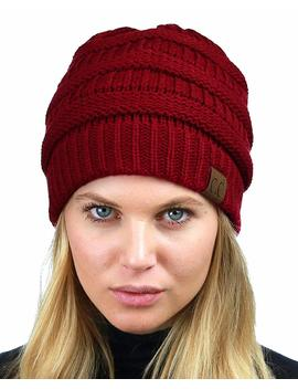 C.C Unisex Chunky Soft Stretch Cable Knit Warm Fuzzy Lined Skully Beanie by C.C