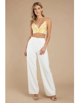 Sweet Creature Yellow Jacquard Crop Top by Tobi