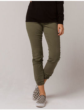 Sky And Sparrow Twill Olive Womens Jogger Pants by Sky And Sparrow