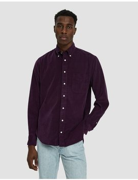 Corduroy Button Down Shirt In Purple by Gitman Brothers Vintage