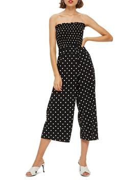 Bandeau Polka Dot Jumpsuit by Topshop