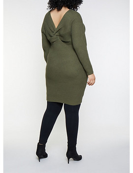Plus Size Twist Back Midi Sweater Dress by Rainbow
