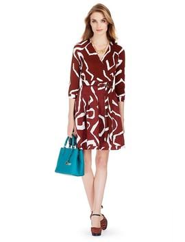 Brown Dvf Jewel Silk Combo Wrap  Work/Office Dress by Diane Von Furstenberg
