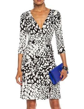 Silk New Julian Two Wrap In Feather Leopard Black  Work/Office Dress by Diane Von Furstenberg