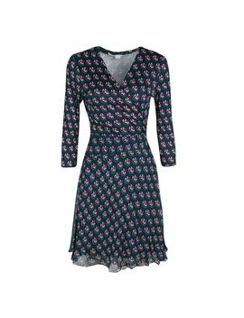 Navy Blue Zen Floral Print Irina Wrap Short Casual Dress by Diane Von Furstenberg