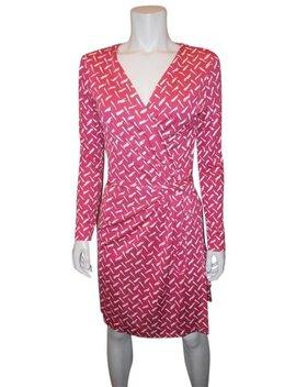 Pink/White Dvf Callista Ls Silk Jersey Wrap Dash Weave Magenta  Short Casual Dress by Diane Von Furstenberg