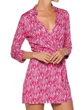 Pink Silk Long Sleeve Printed Celeste Playsuit Fuchsia 14 Romper/Jumpsuit by Diane Von Furstenberg
