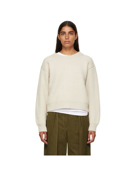 Beige Wool Rib Crewneck Sweater by Acne Studios