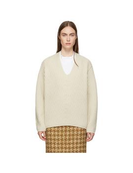 Beige Deborah Deep V Neck Sweater by Acne Studios
