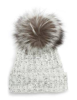 Cable Knit Beanie With Genuine Fox Fur Pom by Kyi Kyi