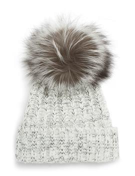 Cable Knit Beanie With Genuine Fox Fur Pom by Kyi Kyi