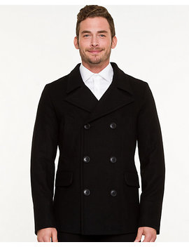 Wool Blend Notch Collar Peacoat by Le Chateau