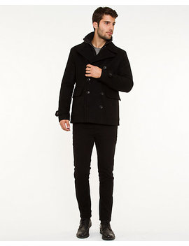 Wool Blend Double Breasted Peacoat by Le Chateau