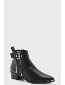 Double Zip Chelsea Ankle Boots by Boohoo