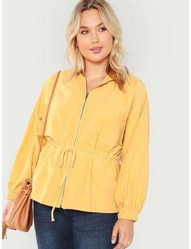 Plus Flap Pocket Front Drawstring Waist Jacket by Shein