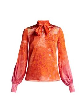 Floral Print Hammered Silk Blend Blouse by Peter Pilotto