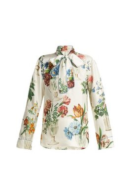 floral-and-vase-print-silk-blouse by dolce-&-gabbana