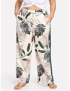 Plus Tropical Print Wide Leg Pants by Shein