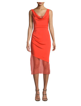 Sleeveless Cowl Neck Matte Jersey Body Con Dress W/ Organza by Cushnie Et Ochs
