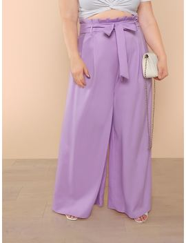 Self Belted Wide Leg Pants by Shein