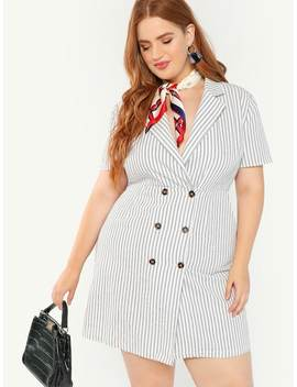 Plus Notch Collar Double Breasted Striped Dress by Shein